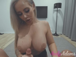 HOT BUSTY BLONDE PORNSTAR GIVES BLOWJOB WITH HUGE LOAD ON HER TITS