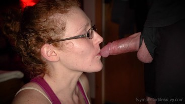 Redhead MILF Ivy teases and edges Hubby's cock until he can't take it