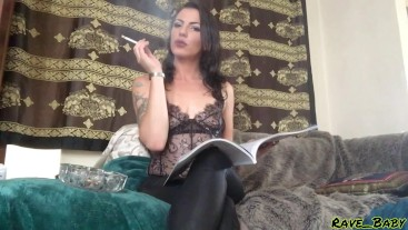 chain smoking mistress reads vogue while you watch in worship