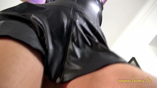 Alicia´s Pearl Thongs and Leather Dress nothing left for imagination Riding shaved