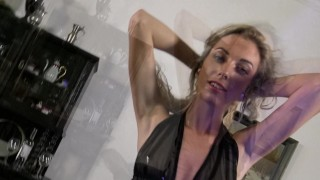 Alicia´s Pearl Thongs and Leather Dress nothing left for imagination Music brunette