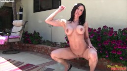 Muscular Porn Star Kendra Lust Fucks Herself With A Dildo In Her Backyard