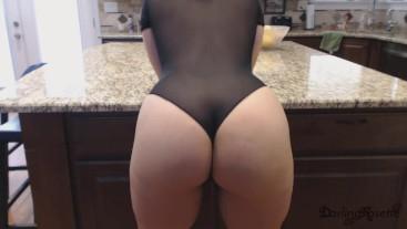 Big ass worship in black cheeky bodysuit