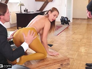 Glamkore - Blonde euro babe takes on 2 cocks in sensual DP