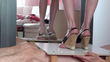 Cock & Balls Torture with Wedge Boots. CBTrample
