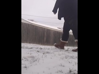 Locked out pee in snow