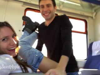 Casal amador fodendo em um trem com facial - MySweetApple