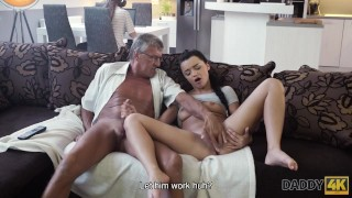 DADDY4K. Grey-haired old man with glasses fucks beautiful girl