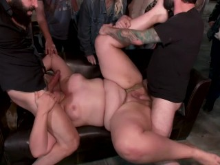 Taken down by a crowd of cocks! Mimosa gets every hole torn apart