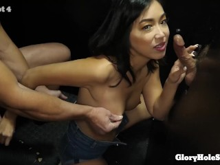 Horny Asian Milf makes love with her mouth to 13 cocks