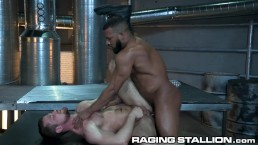 RagingStallion Black Muscle Daddy Barebacks A White Hairy Hole