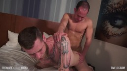 Hairy sex pig chokes on cock then rides it