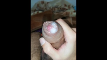 Jerking off Cum inside my foreskin - Camilo Brown