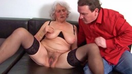 Younger man goes granny fucking