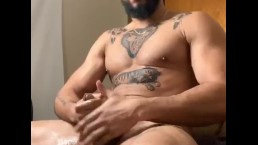 Redbone daddy jerks off his dick until he bust a huge load of cum...