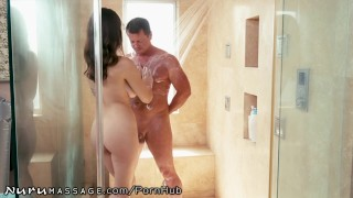 NuruMassage Wife Gives Hubby a Pass to Fuck Hot Masseuse