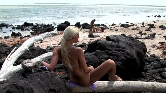 Bubble butt teen gets off with cucumber watching friend take BBC on beach 18