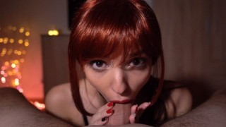 After Party POV Blowjob From Hot Redhead College Girl - 4K Cum Swallow