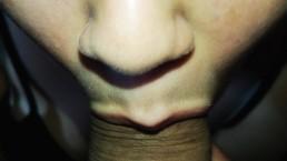 Nahaufnahme Vorhaut Play Blowjob Wichs auf meine Lippen & Sperma auf meine
