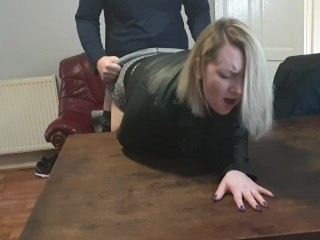 Wife pounded hard with a big orgasm over table
