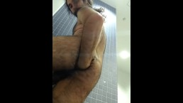 Self fisting in public showers: hot man gets naughty when nobody's around