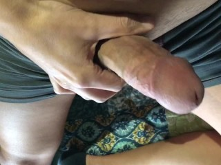 Jerking and cumming in gray spandex boxer briefs...