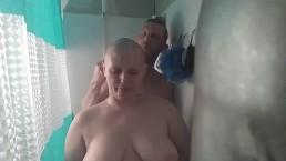 Bald girl razor headshave shower sex
