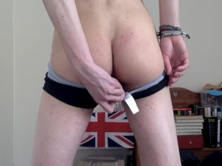 Strips cums with buttplug...