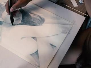 Painting ai uehara while naked nakedartist...