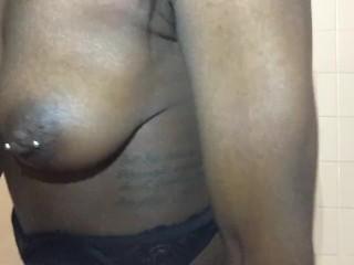 Bouncing her pretty titties...