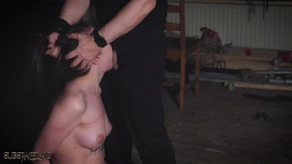 Teen tied up and gives blowjob in rough bondage sex