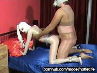 Girl With Latex Mask + Guy With Latex Gasmask Full In Pantyhose Encasement