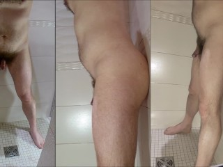 Shower on my hairy body having my ass fucked - three different views