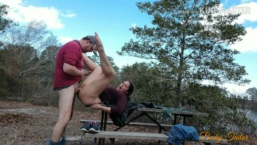 Toe curling fuck and creampie on a public picnic table