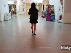 After school teen couple have fun at shopping mall