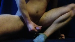 Jerking on my feet with roommate's socks