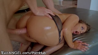 EvilAngel Gia Derza's Ass Oiled Up for Hard Shaft & Cum Shower
