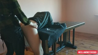 Amateur girl hard Pegging his ass on the Table - Hot Femdom Strapon