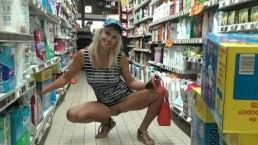 Blonde without panties flashing pussy in supermarket