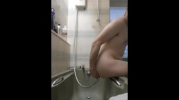 Teen Boy Gives Himself Enema with Shower