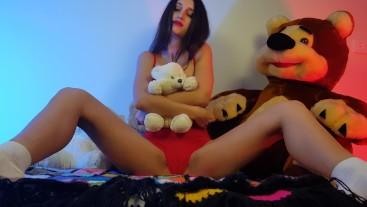 Masturbation in red panties