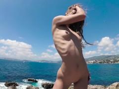 TRAVEL NUDE - Perfect body nudist girl dancing on Mallorca - Sasha Bikeyeva