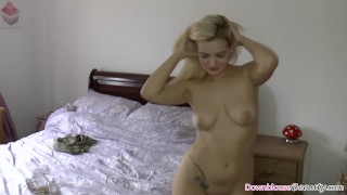 Big tits blonde babe dancing and undressing for fans