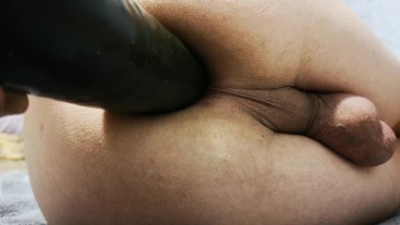anal insertion with cucumber