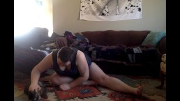 Yoga BIG ASS Tease w/ Roommate in Other Room