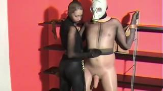 Femdom Pantyhose Domination & Bondage Nylon Mask Face Cumshot
