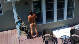 Drone caught naked male outdoors painting in public
