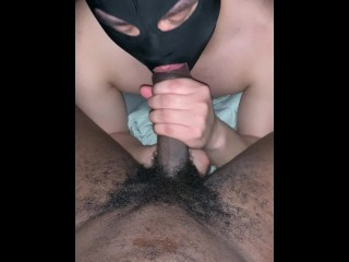 Getting sucked by masked guy...