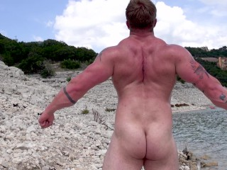 Aaron Bruiser first time naked on camera, outdoors and in public.