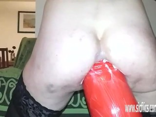 Anal fisting and huge fire extinguisher fuck